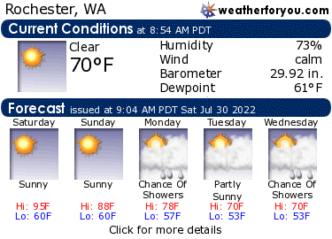Latest Rochester, Washington, weather conditions and forecast