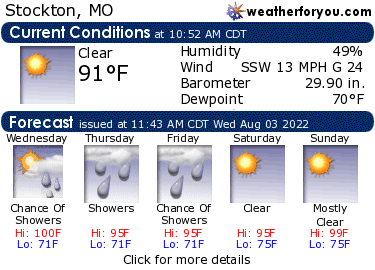 Latest Stockton, Missouri, weather conditions and forecast