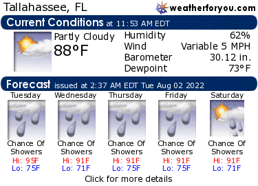 Latest Tallahassee, Florida, weather conditions and forecast