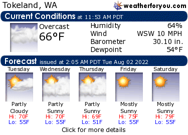 Latest Tokeland, Washington, weather conditions and forecast
