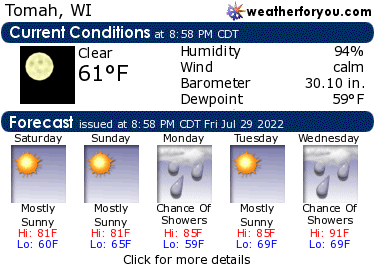 Latest Tomah, Wisconsin, weather conditions and forecast