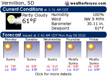 Latest Vermillion, South Dakota, weather conditions and forecast