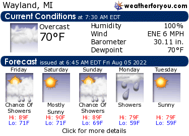 Latest Wayland, Michigan, weather conditions and forecast