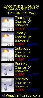 Lycoming County, Pennsylvania, weather forecast