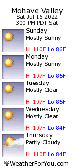 Mohave Valley, Arizona, weather forecast