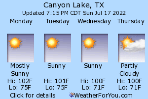 Canyon Lake, Texas, weather forecast