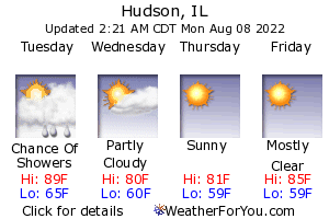 Hudson, Illinois, weather forecast