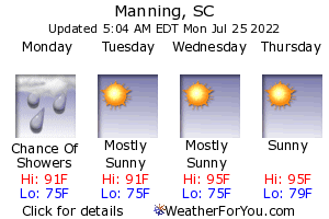 Manning, South Carolina, weather forecast