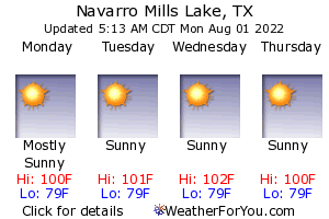 Navarro Mills Lake, Texas, weather forecast
