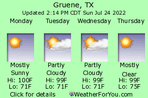 New Braunfels, Texas, weather forecast