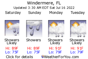 Windermere, Florida, weather forecast