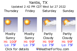 Yantis, Texas, weather forecast