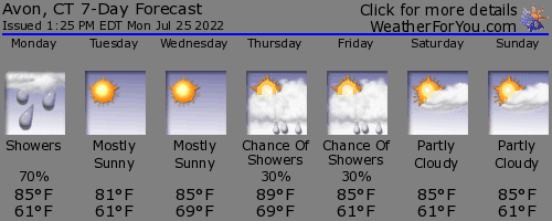 Avon, Connecticut, weather forecast